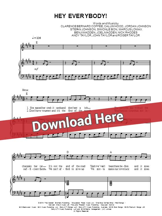 5 seconds of summer, hey everybody, 5 sos, sheet musci, piano notes, score, chords, download, klavier, noten, partition, keyboard, bass, vocals